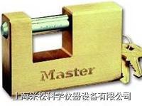 實心方形黃銅掛鎖 Master lock,608,85mm寬鎖體,12mm粗鎖鉤,大號