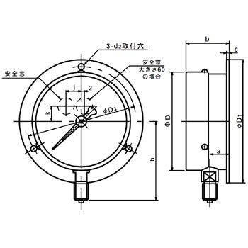 长野计器 NKS AG10-231-5.0MPa 普通型压力计(B框立形)150Φ NKS AG10 231 5 0MPa B 150